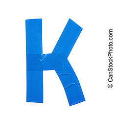Letter K symbol made of insulating tape pieces, isolated...