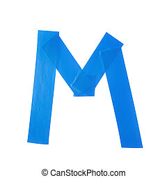 Letter M symbol made of insulating tape pieces, isolated...