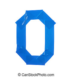Letter O symbol made of insulating tape pieces, isolated...