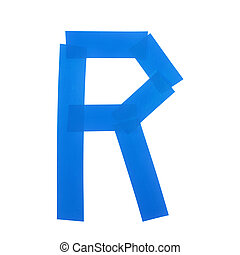 Letter R symbol made of insulating tape pieces, isolated...