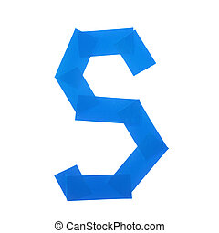 Letter S symbol made of insulating tape pieces, isolated...