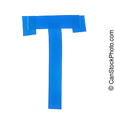 Letter T symbol made of insulating tape pieces, isolated...