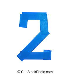 Number two symbol made of insulating tape isolated over the...