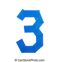 Number three symbol made of insulating tape isolated over...