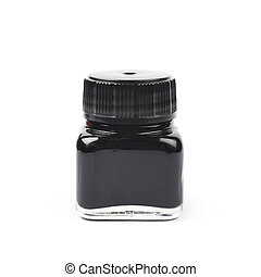 Tiny bottle filled with black ink