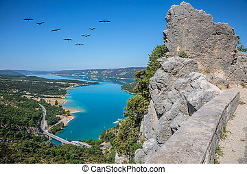 The migrating cranes over lake - Canyon of Verdon, Provence,...