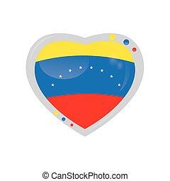 Flag - Isolated heart shape with the venezuelan flag on a...