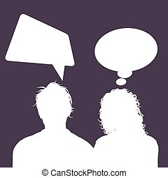 male and female avatars with speech bubbles 1503
