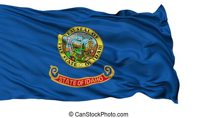 Isolated Waving National Flag of Idaho - Idaho Flag Isolated...