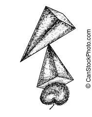 decorativo, uso, piramide, abstratos, Cubismo, fundo,...