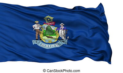 Isolated Waving National Flag of Maine - Maine Flag Isolated...
