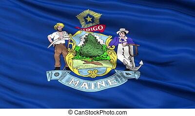 Close Up Waving National Flag of Maine - Maine Flag Close Up...