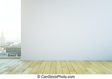 Blank wall in room - Blank white wall in interior with...