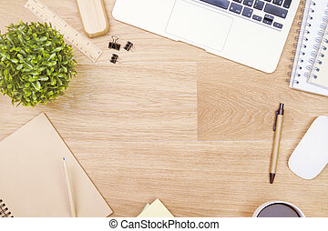 Table with office tools - Topview of wooden table with...