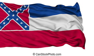 Isolated Waving National Flag of Mississippi
