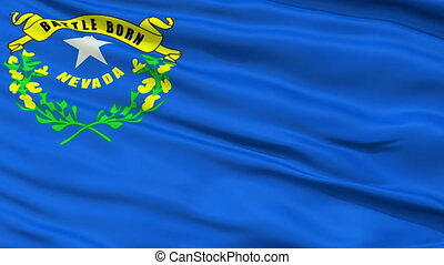 Close Up Waving National Flag of Nevada - Nevada Flag Close...