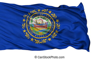 Isolated Waving National Flag of New Hampshire