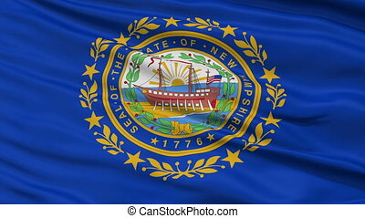 Close Up Waving National Flag of New Hampshire - New...