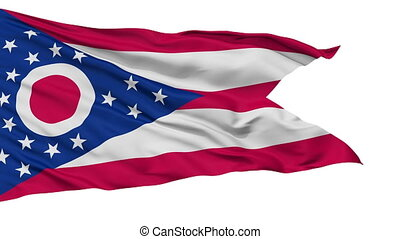 Isolated Waving National Flag of Ohio - Ohio Flag Isolated...