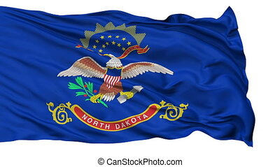Isolated Waving National Flag of North Dakota - North Dakota...