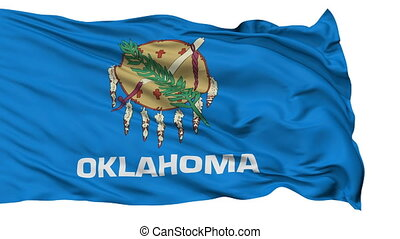 Isolated Waving National Flag of Oklahoma - Oklahoma Flag...