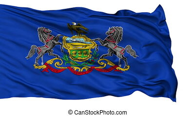 Isolated Waving National Flag of Pennsylvania - Pennsylvania...