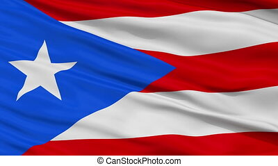 Close Up Waving National Flag of Puerto Rico - Puerto Rico...