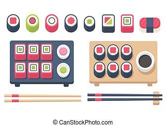Isometric sushi set - Big flat sushi set with chopsticks and...