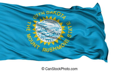 Isolated Waving National Flag of South Dakota