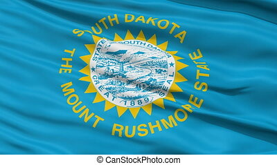 Close Up Waving National Flag of South Dakota - South Dakota...