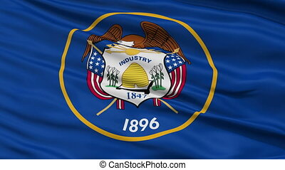 Close Up Waving National Flag of Utah - Utah Flag Close Up...