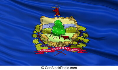Close Up Waving National Flag of Vermont - Vermont Flag...