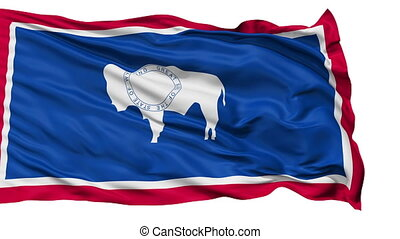 Isolated Waving National Flag of Wyoming - Wyoming Flag...