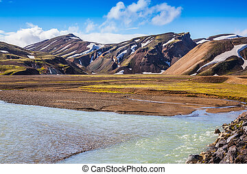 Summer flood in the national park Landmannalaugar - The...