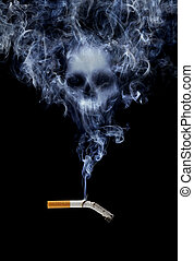 Smoking kills - Cigarette with deadly smoke
