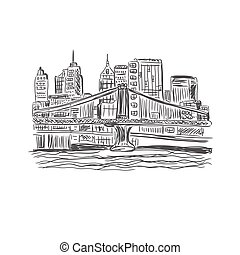 New York, city, sketch vector
