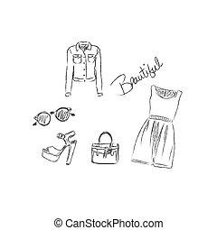 Fashion Illustration set, vector, sketch