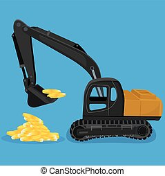 excavator digging a heap of coins, vector illustration