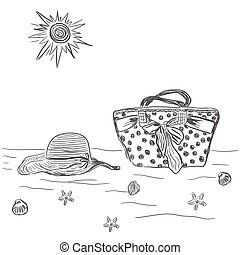 female bag with beach hat vector illustration, sketch