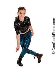 Smiling Dancer in Hip Hop Costume - Smiling Tween Girl in...