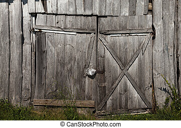 old wooden gate - photographed close-up old wooden gate with...