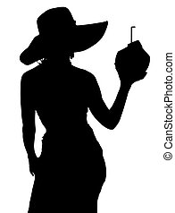 Woman with coconut cocktail