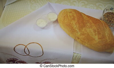 Bread and salt on embroidered towels HD
