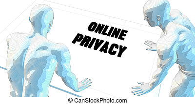 Online Privacy Discussion and Business Meeting Concept Art
