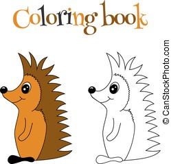 Coloring book with hedgehog