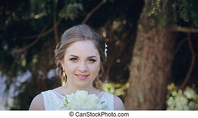 Beautiful bride with wedding bouquet HD