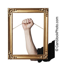 Frame - Man holding an old golden picture frame