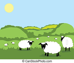 sheep - hand drawn vector illustration of a flock of sheep...