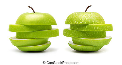 Fresh Green Apple - The Set of Prefect Cleaned Green Apple...