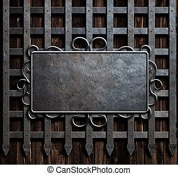 mteal plate on medieval castle gate or wall background -...